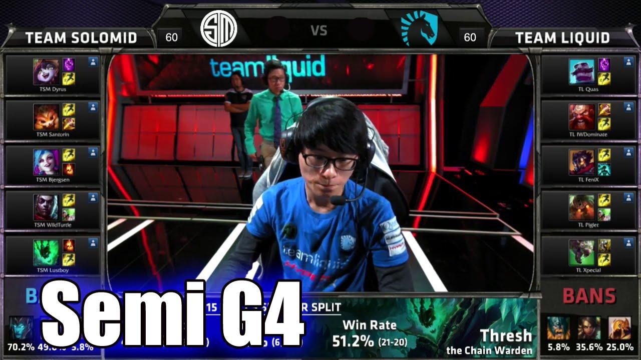 TSM vs Liquid   Game 4 Semi Finals S5 NA LCS Summer 2015 Playoffs   Team  Solomid TSM vs TL G4