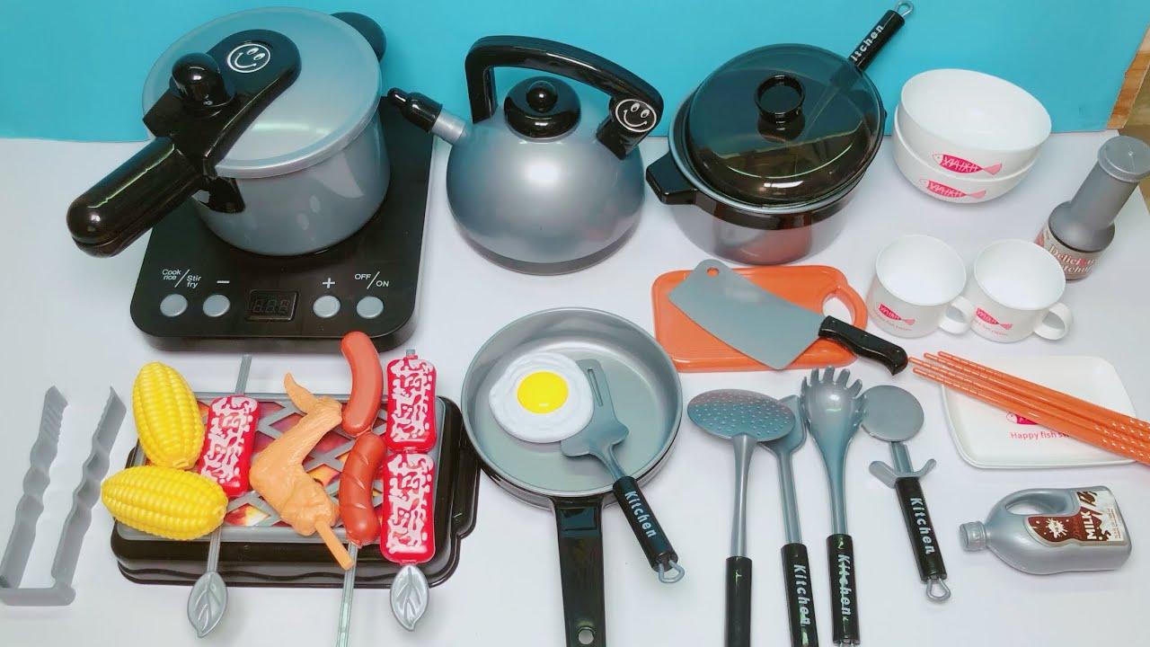 Đồ chơi nấu ăn cho bé 36 món, chơi nấu cơm, nướng thịt, chiên cá… Kitchen toys kids (Chim Xinh)