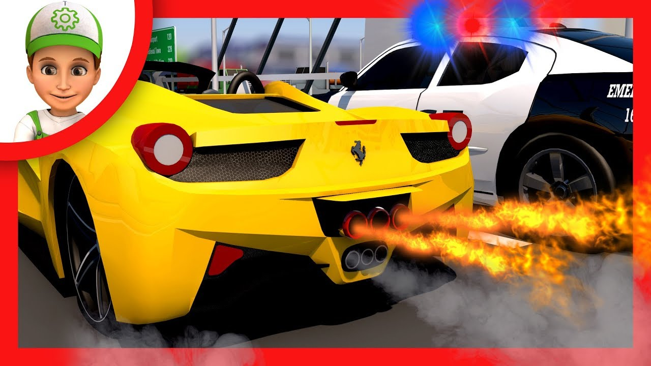 Cartoon for kids. Police chase yellow ferrari. Handy Andy children Cartoons