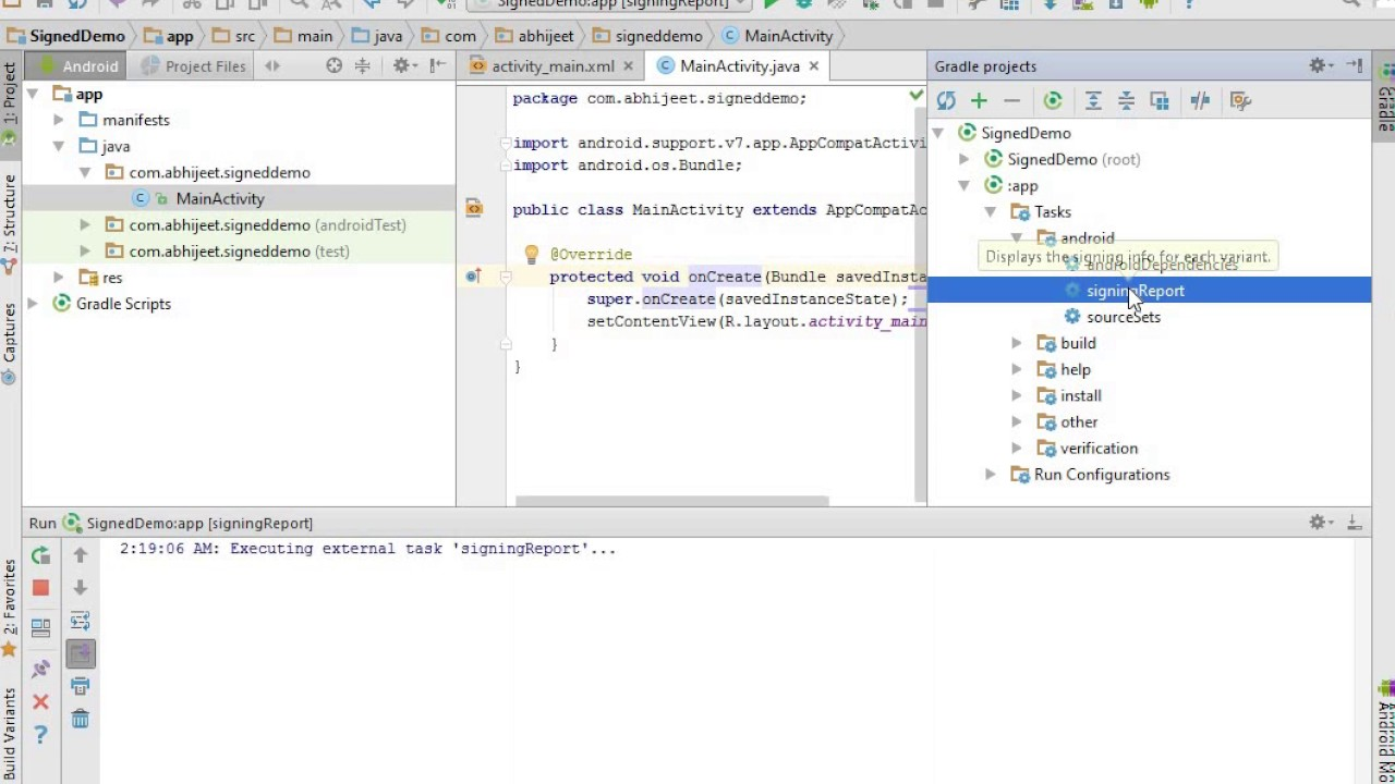 How to get SHA1 FingerPrint in Android Studio