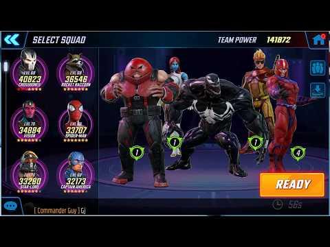 Marvel Strike Force - Arena vs Massive Red Star team 235k vs 142k Brotherhood