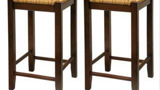 Bar Stool 24-inch Rush Seat Walnut Finish S2 Set Of Two