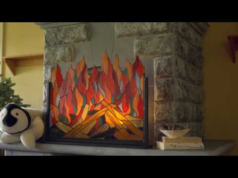 Stained Glass Roaring Fire Screen SKU# LT7598 - Wind & Weather