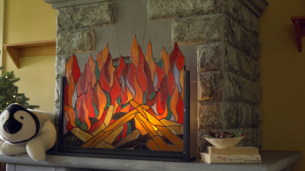 stained glass fireplace screen Stained Glass Roaring Fire Screen SKU# LT7598   Wind & Weather  stained glass fireplace screen