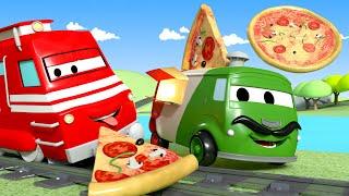 批萨餐车卡洛 Carlo the Pizzaiolo  火车特洛伊在汽车城  国语中文儿童卡通片 Car City  Chinese Train Cartoons for Kids