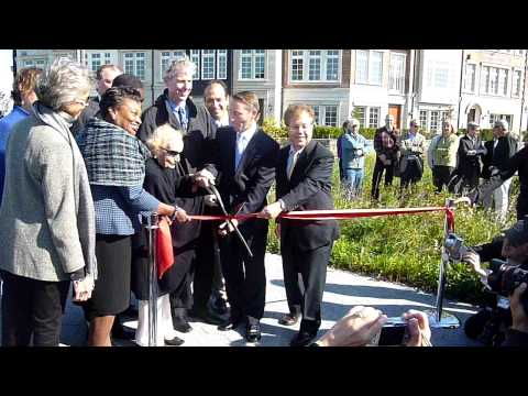 Local politicians help philanthropist Kathryn W. Davis cut the ribbon at RiverWalk in Tarrytown in September 2011. Davis, who died last year at 106, will be remembered on Saturday, April 19, in Tarrytown.