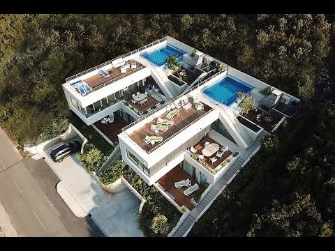 Time lapse of luxury vacation houses construction in Croatia