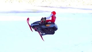 RC ADVENTURES - Snapped in Half on a Hill Jump - Electric Snow Mobiles (Radio Controlled)
