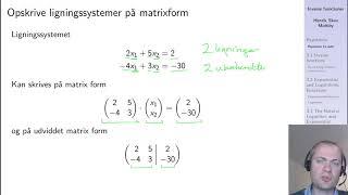 Repetition af matricer og lineære ligningsystemer