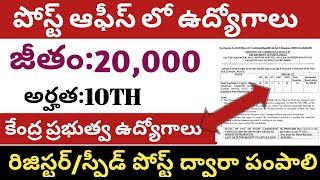 INDIAN POST OFFICE RECRUITMENT/POST OFFICE NOTIFICATION/LATEST CENTRAL GOVT JOBS 2019 IN TELUGU