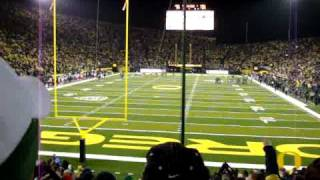 Duck fans sing Shout after the 3rd quarter at Autzen Stadium 11-26-2010