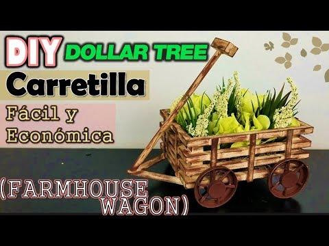 Dollar Tree DIY Farmhouse Wagon | Wheelbarrow | English CC | Carretilla Rústica FÁCIL Y ECONÓMICA