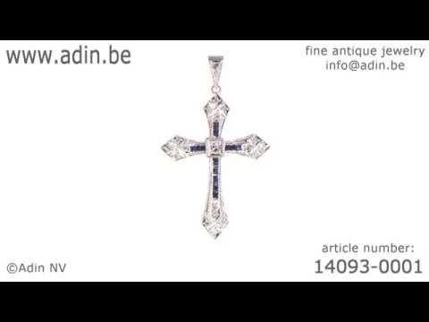 Art Deco Belle Epoque cross pendant platinum diamonds and sapphires. (Adin reference: 14093-0001)