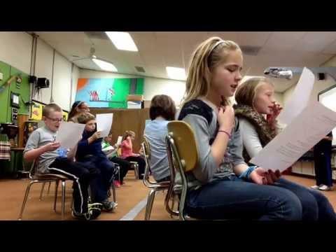 3rd graders read a Spooky poem with musical dynamics (pp, p, mp, mf, f, ff, decresc.) Harris School.