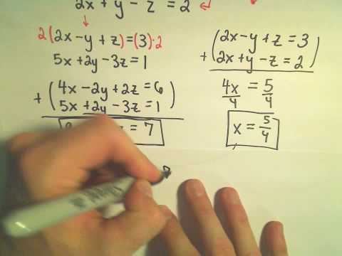 Solving A System Of Equations Involving 3 Variables Using Elimination By Addition - Example 1