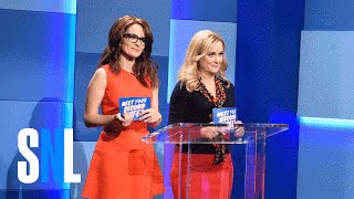 Hosts Helen Walsh (Amy Poehler) and Tina Fey introduce three contestants (Bobby Moynihan, Taran Killam, Kenan Thompson) to their future second wives.