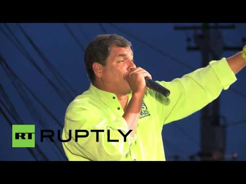 Ecuador: Quito crowd in frenzy for Correa ahead of election