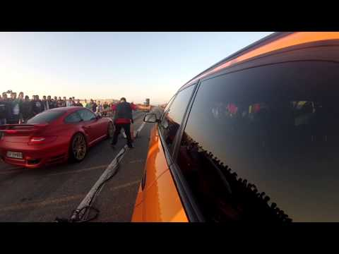 Porsche 997 Turbo ES1000R vs Audi RS6 Madness Motorsport PB0900 Drag Race