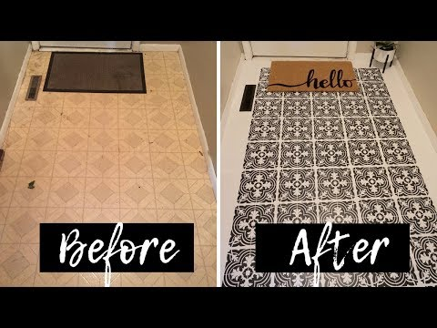 How to Stencil Linoleum Floors | Deep clean | Entry way remodel