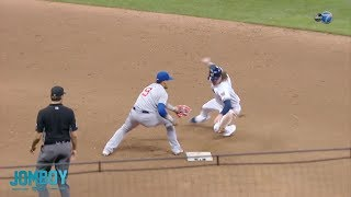 Javier Báez gets Ben Gamel with the fake tag, a breakdown