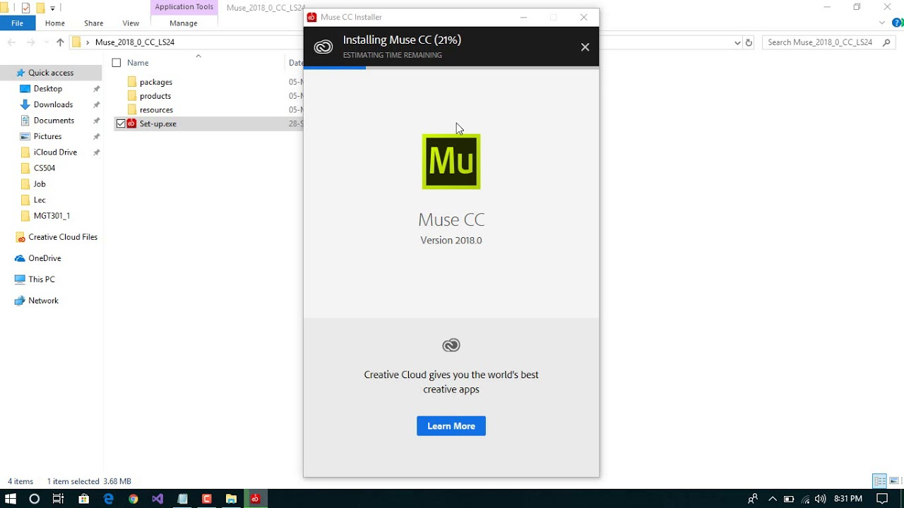 How to install Adobe Muse CC 2018 in Window 10