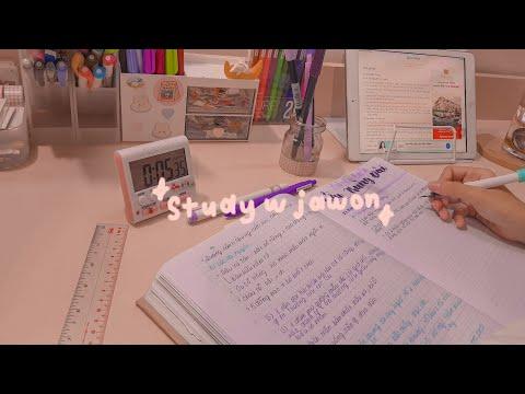 HỌC BÀI CÙNG MÌNH NHÉ! // study with me #7 (real time, with piano bgm) // jawonee