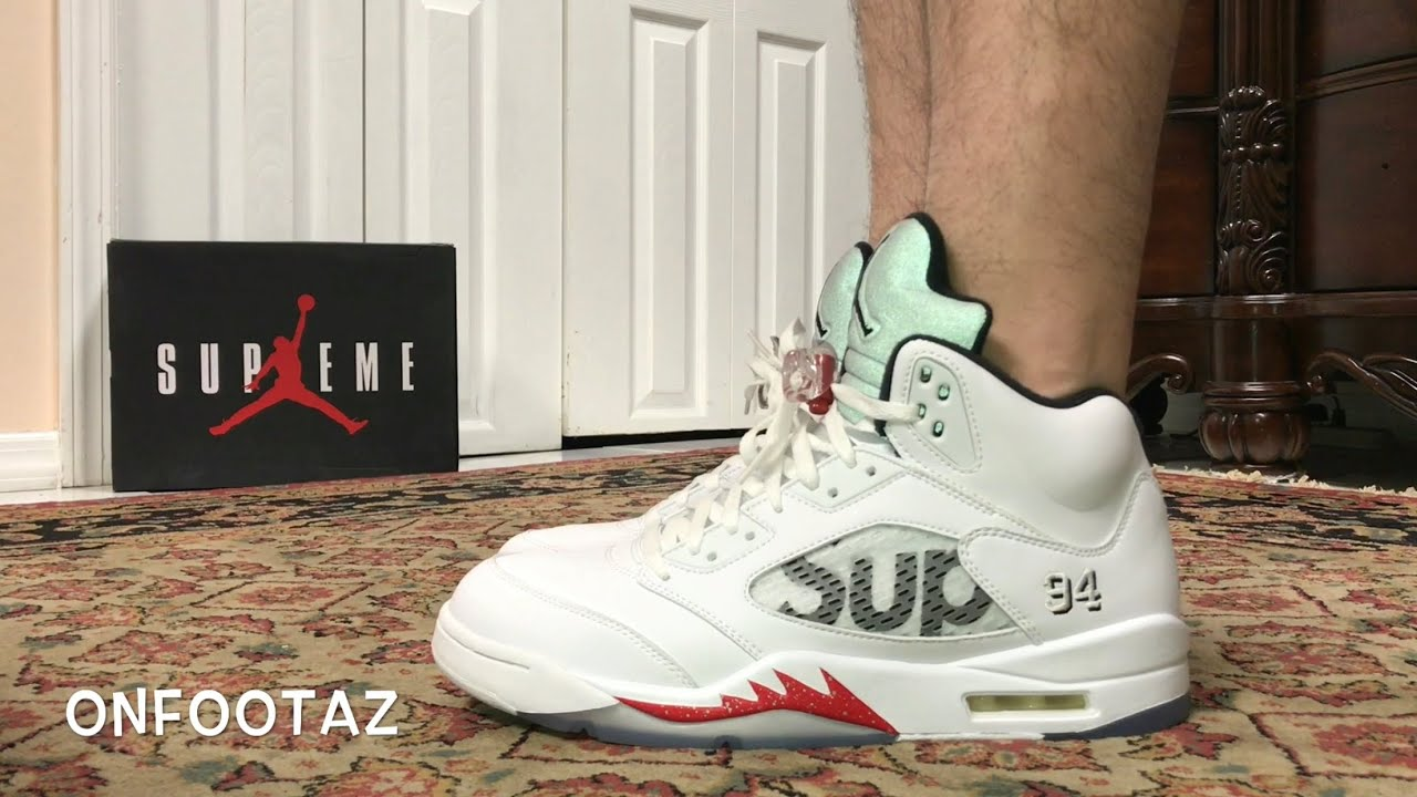 12ca7c2c67d Air Jordan 5 V Supreme White Red On Foot - YouTube