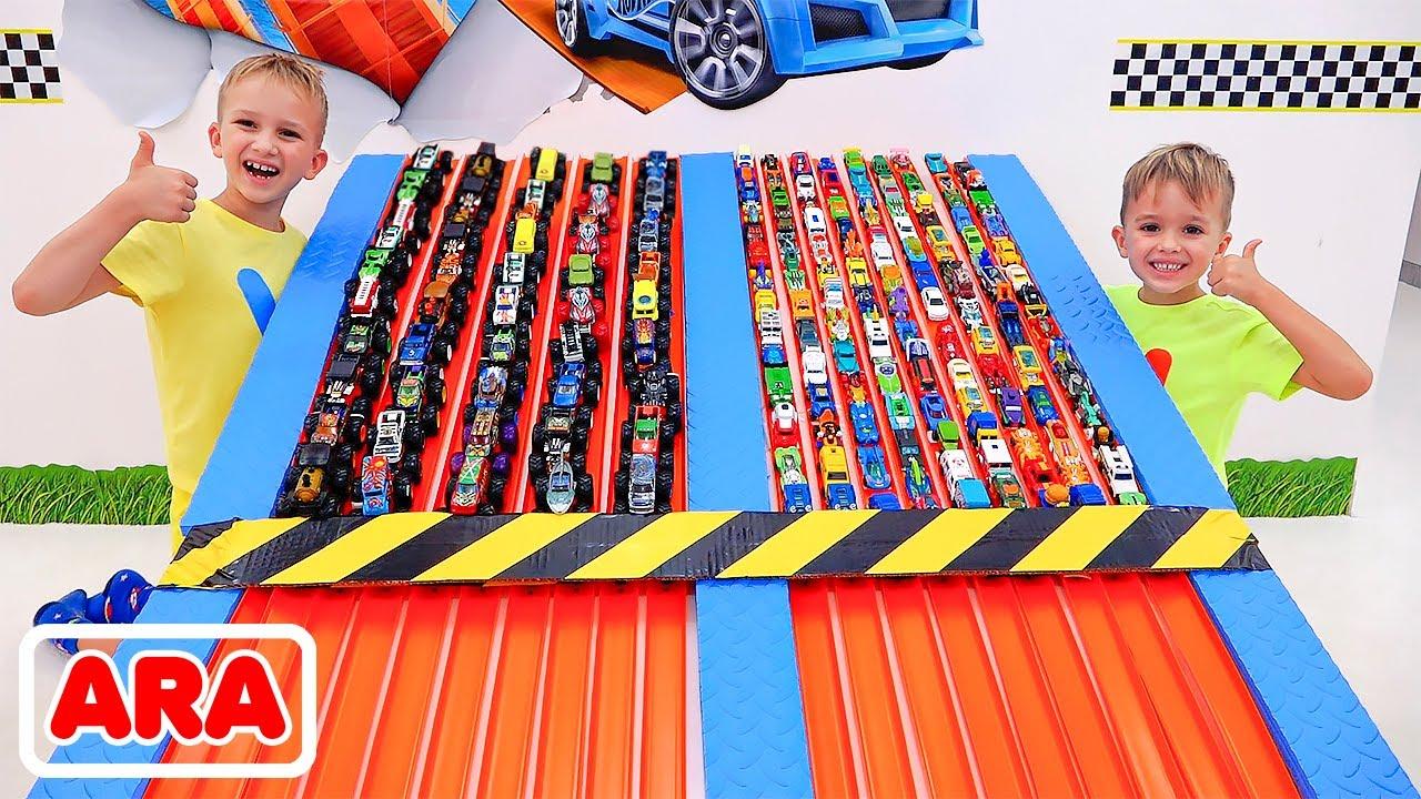 فلاد ونيكي يجمعون لعبة السيارات | هوت ويلز مونستر الشاحنات