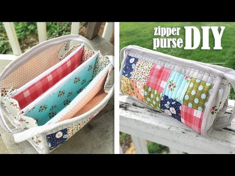 DIY TRIPLE ZIPPER POUCH BAG CUY & SEW // Popular Design Purse Bag Summer 2019