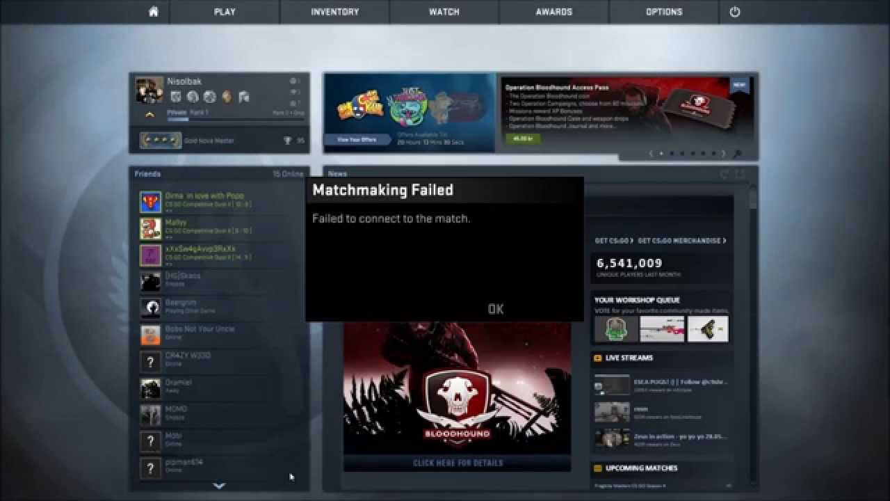 How to fix matchmaking failed cs go