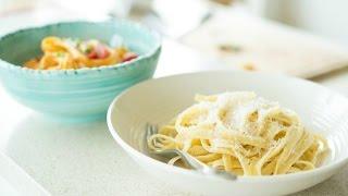 How To Make Fettuccine Alfredo, Two Ways! Classic Version + Buffalo Chicken Fettuccine Alfredo