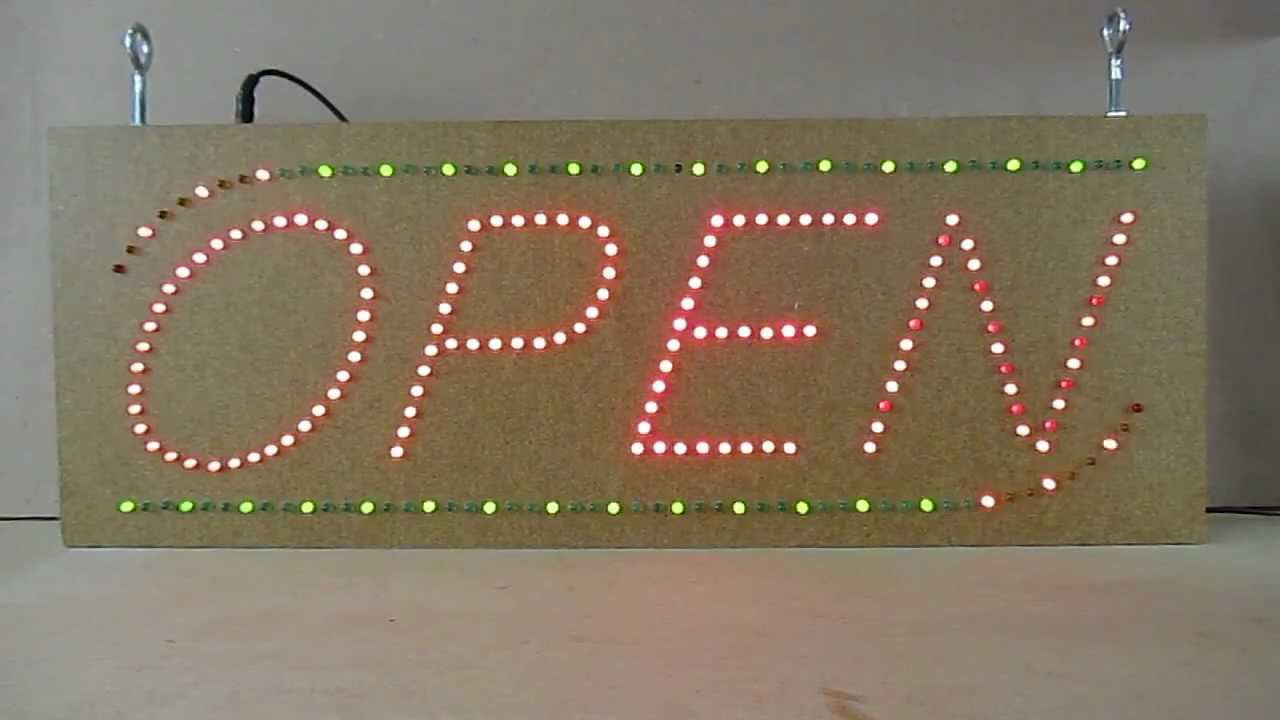 Build An Led Open Sign Source Hardware Project Youtube Circuits And Projects Electronic Diagram