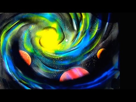 Galaxy and planets spray paint art youtube - Galaxy and planets ...