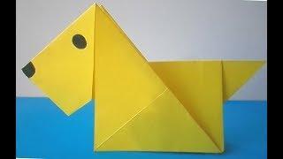 Собачка, легкое оригами для детей. Как сделать Собачку просто быстро. Поделки с детьми 3-5 лет.
