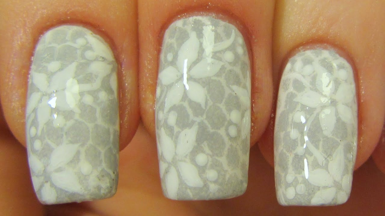 Subtle Floral Lace Design In White And Grey Nail Art Tutorial Youtube