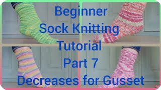 Sock knitting tutorial (heel gusset) part 6