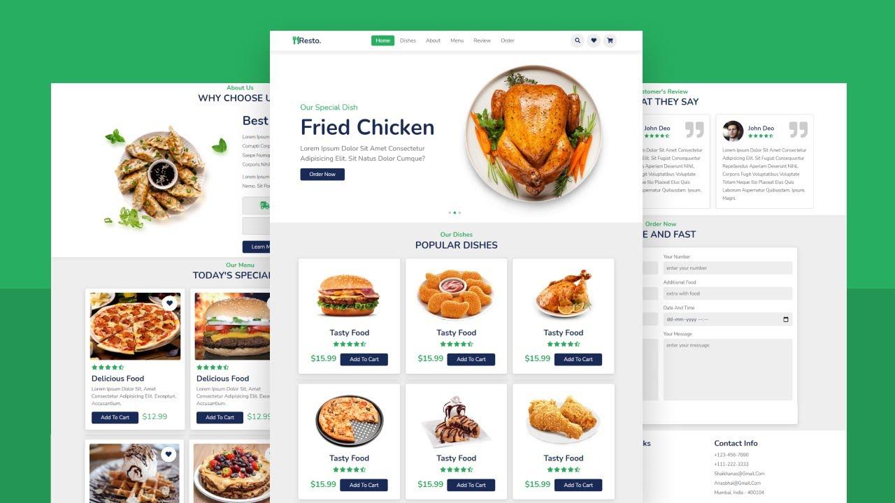 How to Make Complete Responsive Food / Restaurant Website Design Using HTML, CSS & JAVASCRIPT