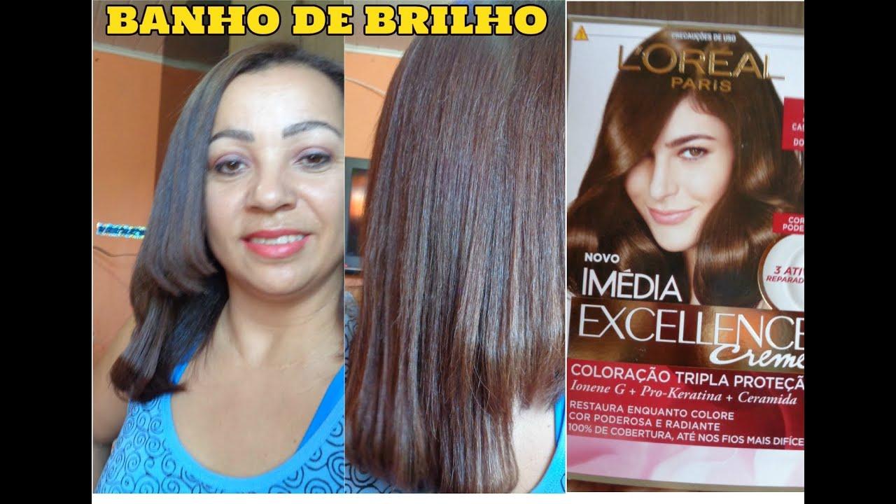 Top BANHO DE BRILHO COM L'OREAL PARIS/ CASTANHO CLARO DOURADO COR  OQ54