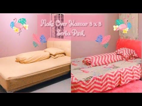 make over kamar serba pink   kamar 3x3   shopee haul #