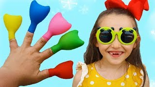 Learn Colors with surprise Balloons, Finger Family Song and Öykü