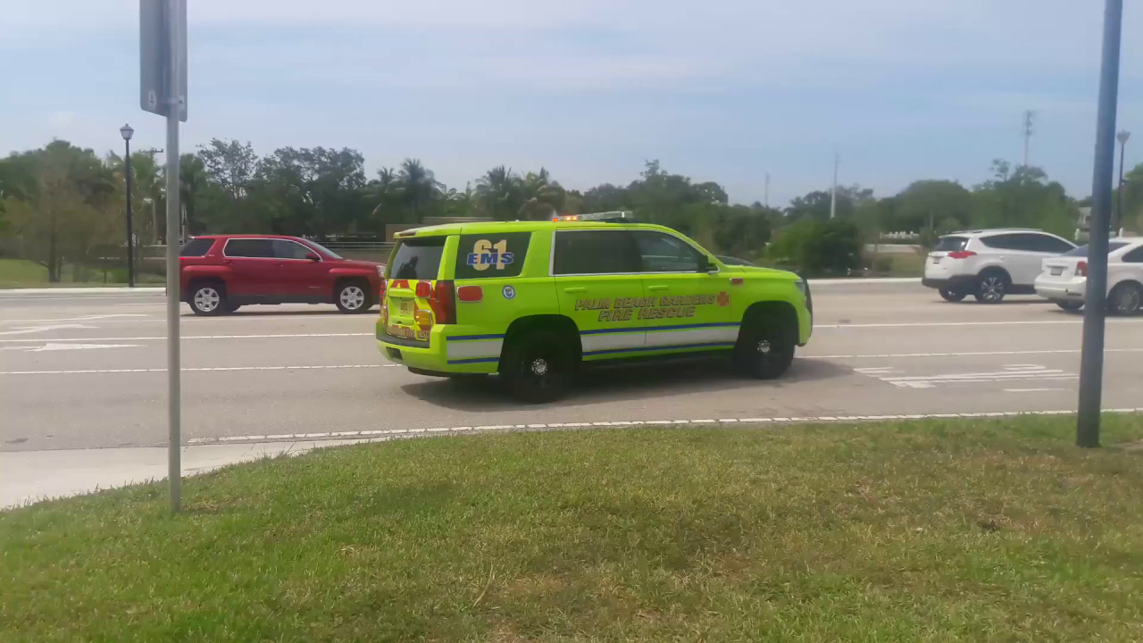 Palm beach gardens fire rescue ems supervisor 61 responding code 3 with q youtube for Fire in palm beach gardens today