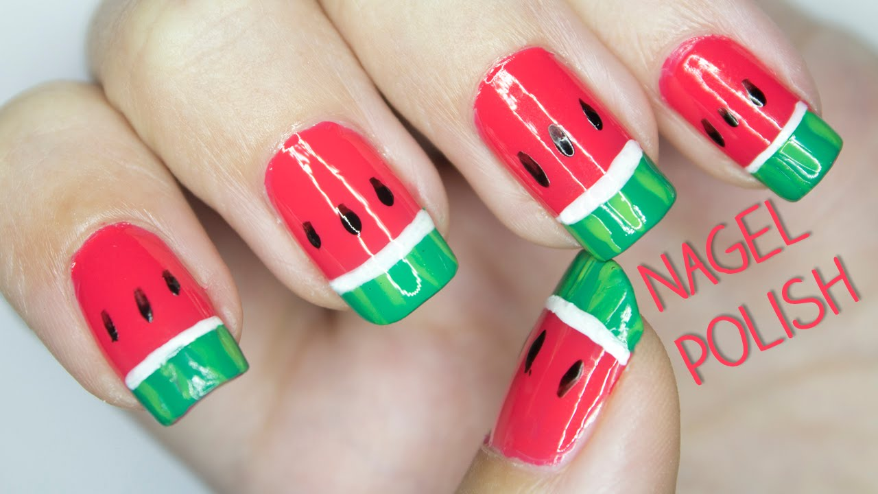 Wassermelonen Nu00e4gel Tutorial | Fruchtiges Nageldesign ...