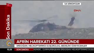 #SONDAKİKA İşte #Afrin'de düşürülen helikopterin ilk görüntüleri