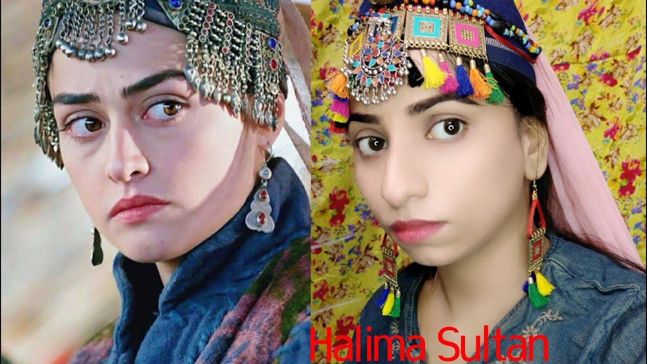 "Halima Sultan ""Ertugrul Ghazi"" Inspired Makeup Look, Step by Step with Dresses   "" Esra biljic''"