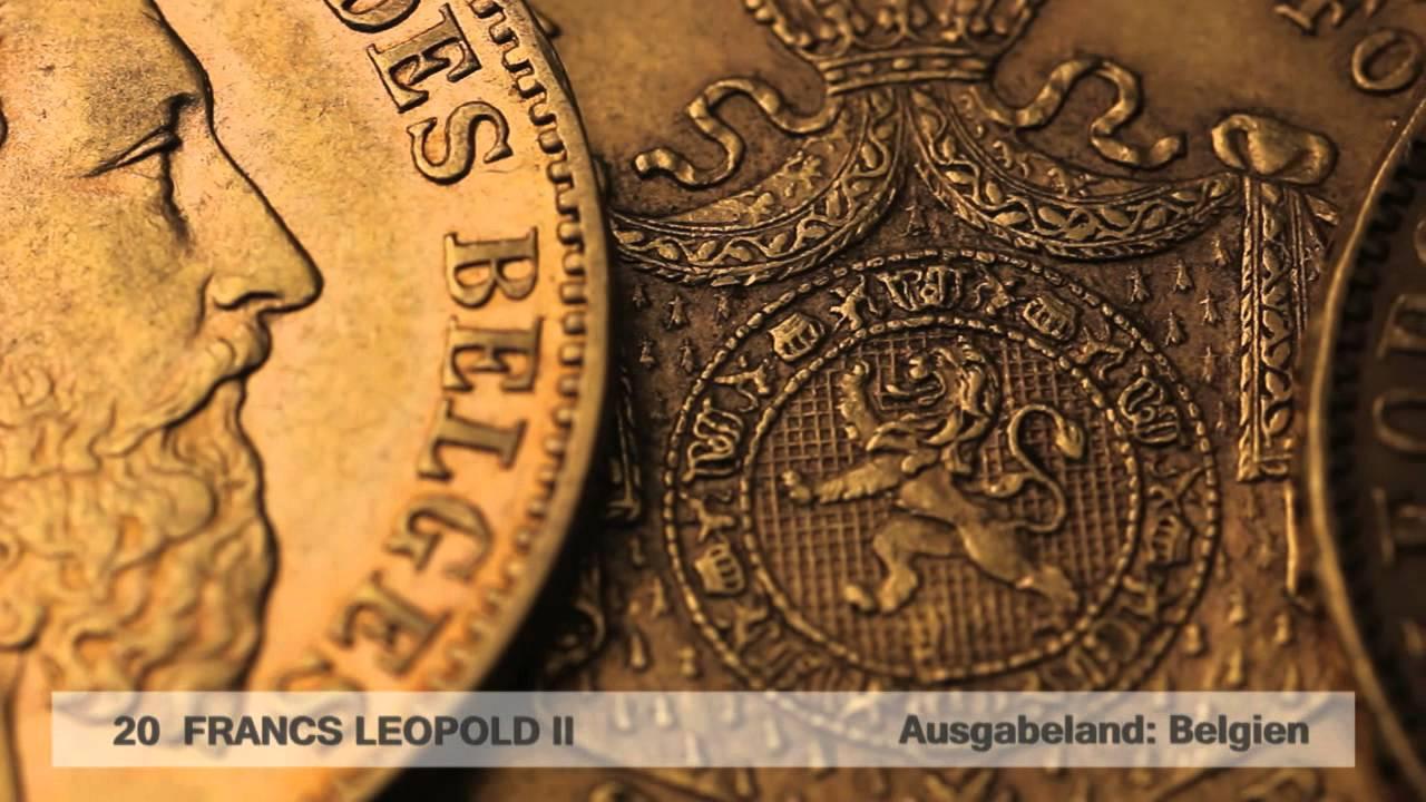 Goldmünze 20 Francs Leopold II (Belgien )