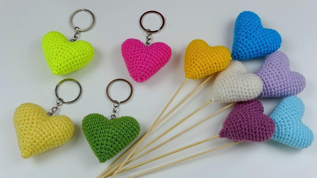 AMİGURUMİ KALP ANAHTARLIK NASIL YAPILIR? (Tığ İşi Amigurumi Kalp Yapımı) / DIY Heart Keychain