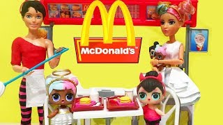Barbie LOL Families ! The Sugar & Spice Family McDonald's Drive Thru Fail ! Toys and Dolls Kids Fun