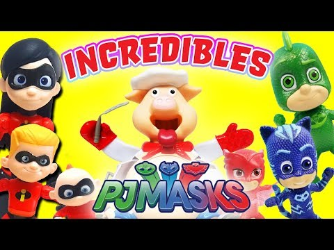 Incredibles vs PJ Masks Pop the Pig Game! With Catboy, Owlette, & Incredibles 2 Violet and Dash!
