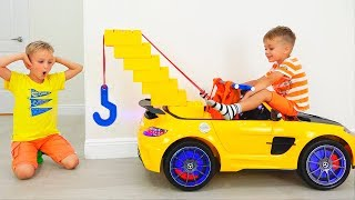 �������� ���� Vlad and Nikita play with Toy Tow Truck for children ������