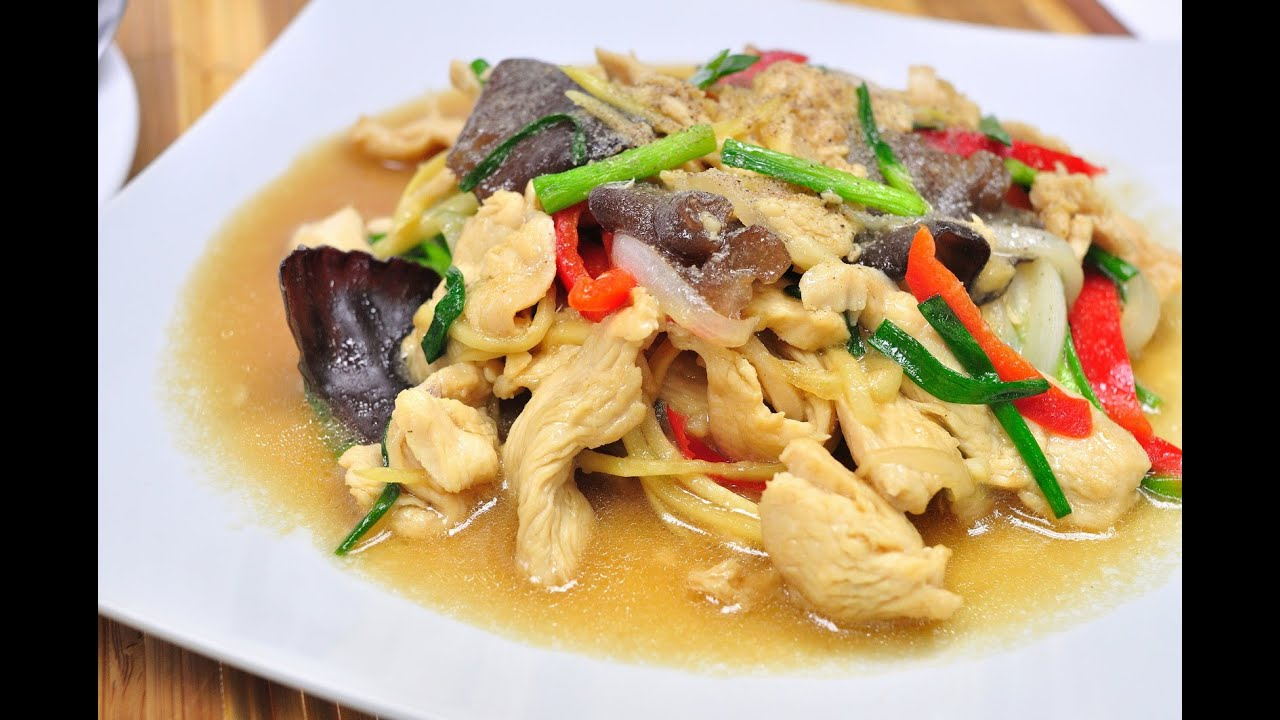 Stir fried chicken with ginger thai food gai pad king stir fried chicken with ginger thai food gai pad king youtube forumfinder Image collections